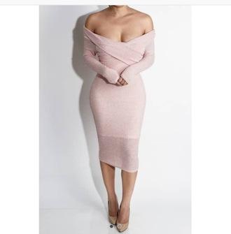 dress off the shoulder pink dress sweater dress cute dress sexy dress