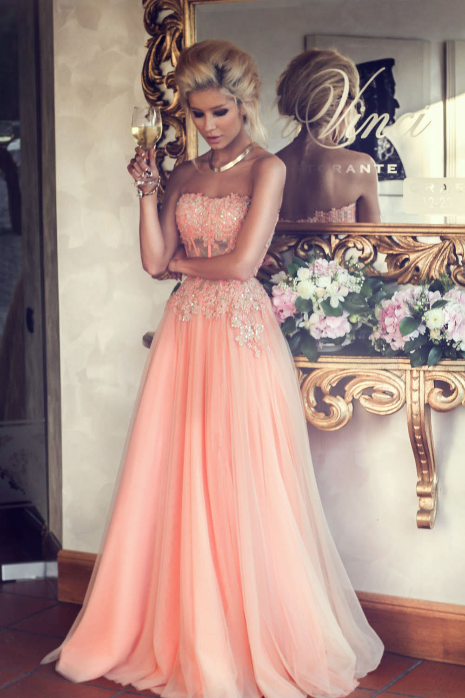 Aliexpress.com : Buy Stunning Rose Pink Long Prom Dresses 2014 ...