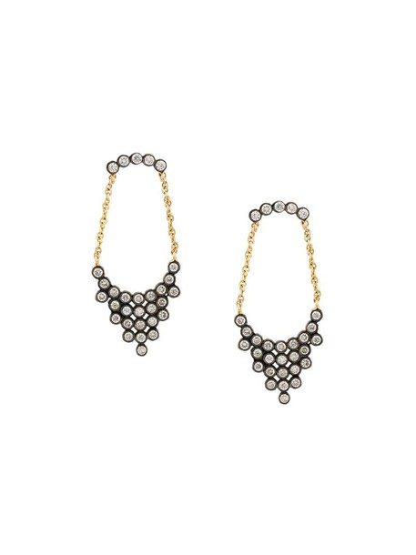 Yannis Sergakis women earrings gold grey metallic jewels