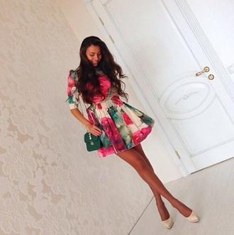 dress heels dress hippie mini dress peplum shirt floral floral dress pink pink dress green dress summer dress summer pumps bag long hair party party dress evening dress victoria's secret