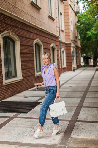 top tumblr blue top sleeveless sleeveless top bag white bag denim jeans blue jeans embellished high heels heels