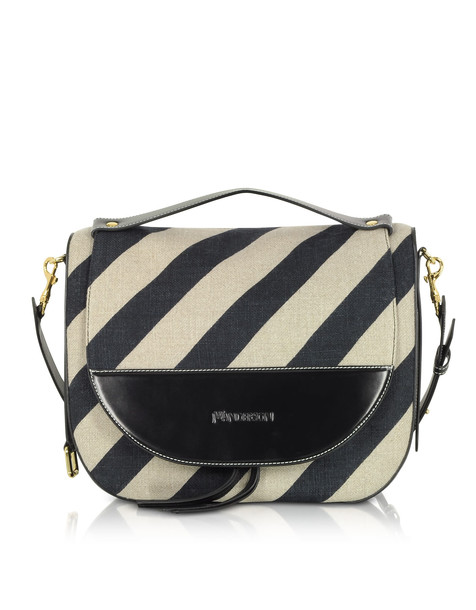 J.W. Anderson Jw Anderson Black And Off White Striped Linen Moon Shoulder Bag