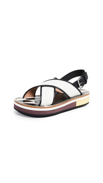 Marni Beach Crisscross Wedges in natural / white