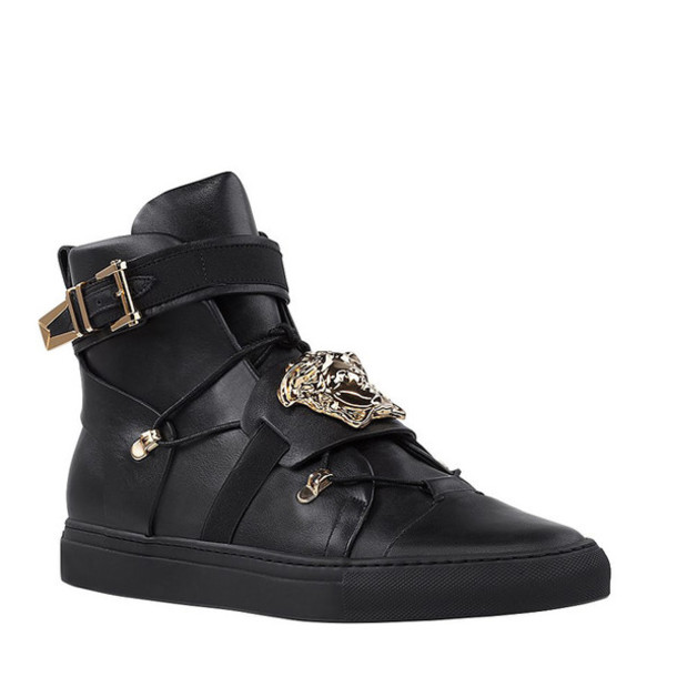 shoes versace palazzo leather sneakers