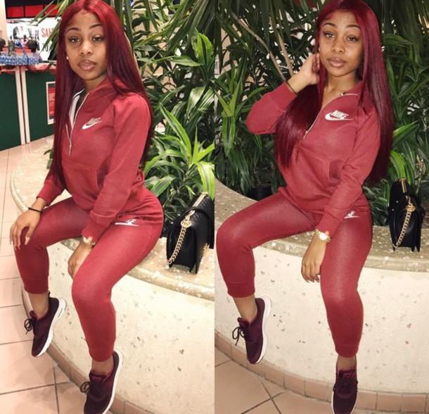 Jumpsuit Red Nike Women Sweats Wheretoget