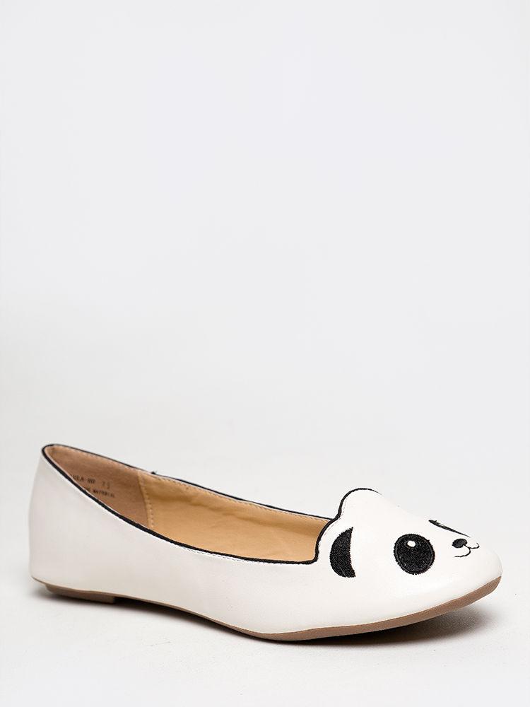 New bamboo women cute panda bear critter round toe ballet flats sz white lula80