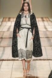 dress,coat,sandals,etro,midi dress,milan fashion week 2016,spring outfits