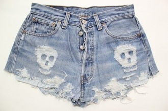 shorts denim shorts denim jeans diy fashion skull