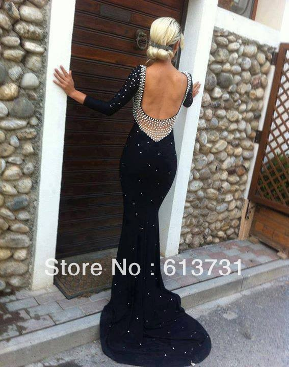Aliexpress.com : buy 2014 sexy new fashion pearls black chiffon long sleeves backless mermaid long prom dresses party evening elegant sweep train from reliable train catalog suppliers on suzhou babyonline dress store
