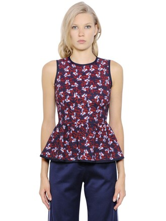 top peplum top floral blue red
