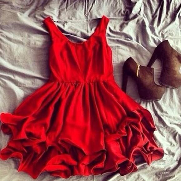 ruffles red dress little style little black dress fashion high heels