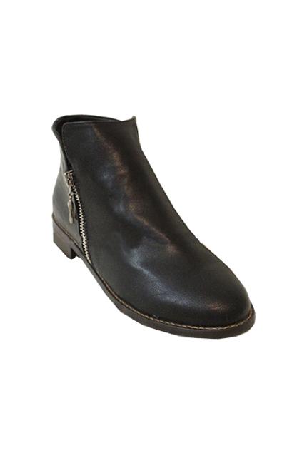 ROMWE | Retro Flat Heel Zipped Black Shoes, The Latest Street Fashion