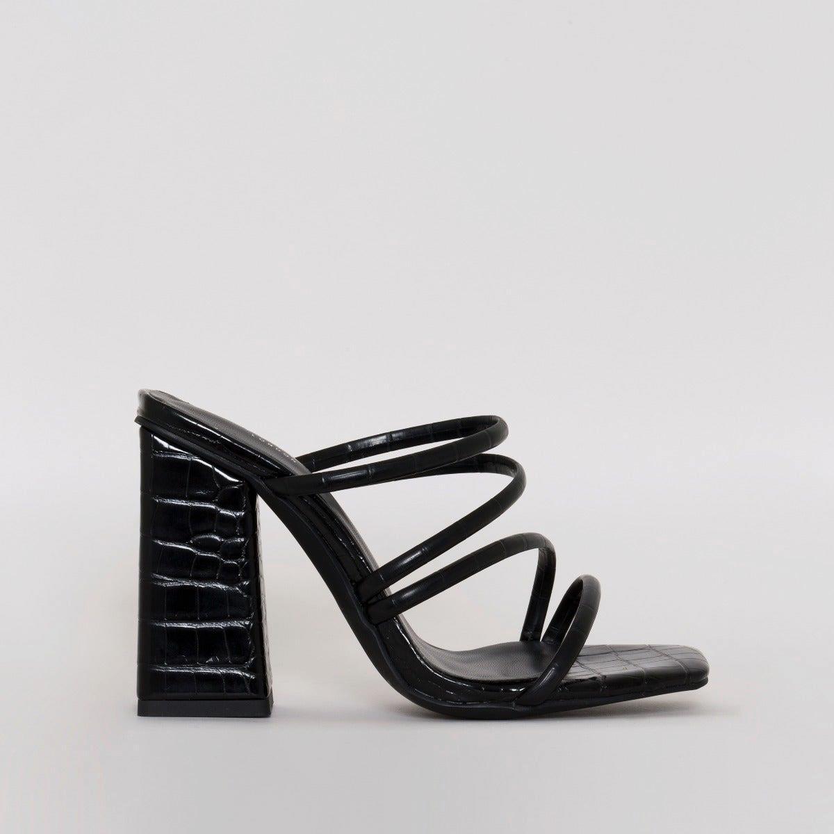 Kamilla Black Croc Print Strappy Mules
