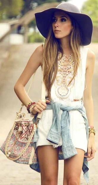 dress boho chic boho dress lace dress cream dress bag