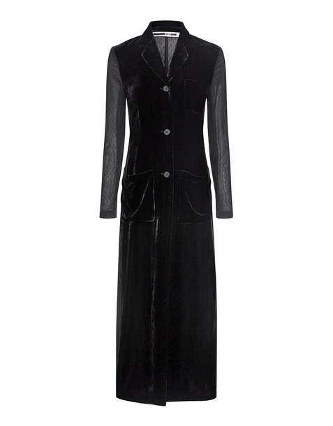 McQ Alexander McQueen coat long coat long sheer black velvet