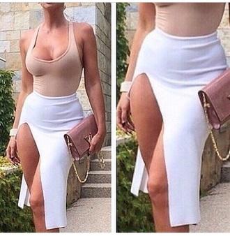 skirt slit skirt style clutch bag top white beige tank top