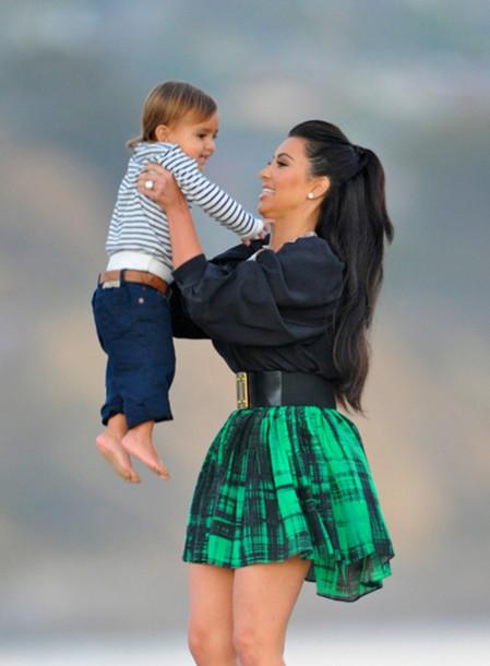 Skirt Black Green Kim Kardashian Plaid Belt Wheretoget