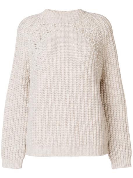 Ermanno Ermanno jumper women pearl embellished nude wool sweater