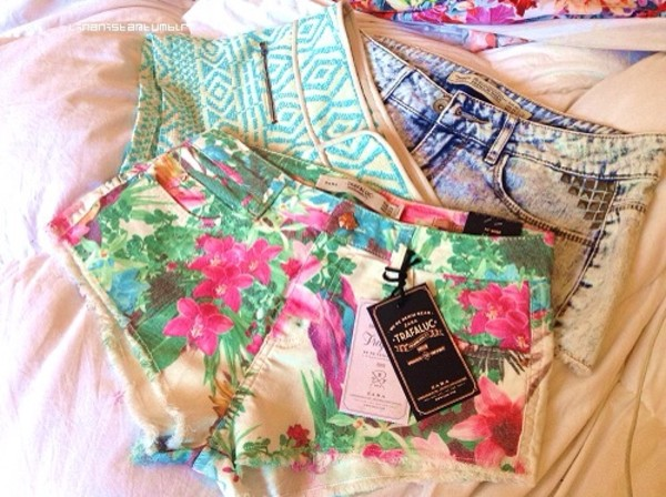 shorts denim short floral tribal pattern pattern colorful summer