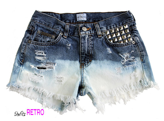 SALE  Ombre Bleached Studded High Waisted by SheFitzRetro on Etsy