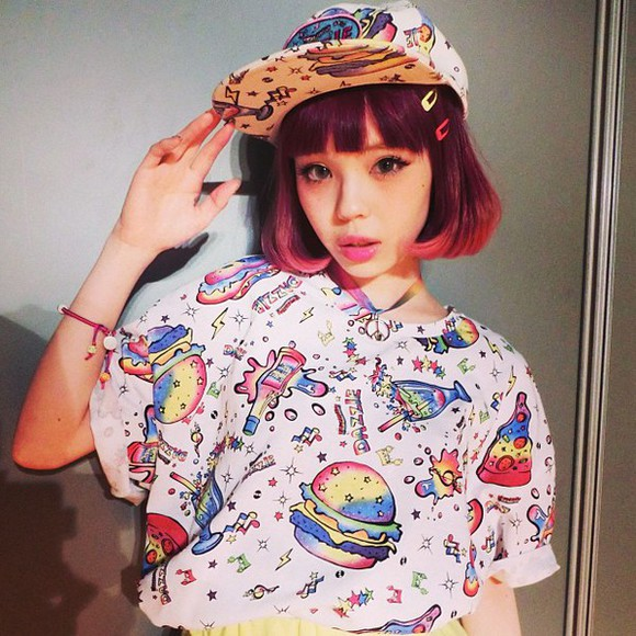 t-shirt hamburger space cartoon drawing rainbow crop tops pizza