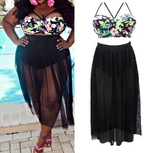 Swimwear Plus Size Swimwear Dress Black Dress Black Skirt Slit