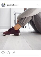 shoes,adidas,burgundy,sneakers,sweatpants,grey pants,burgundy shoes,red sneakers,low top sneakers,adidas shoes,nmd,red,wine,sportswear,sports shoes