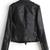 Black Lapel Long Sleeve Zipper Leather Jacket - Sheinside.com