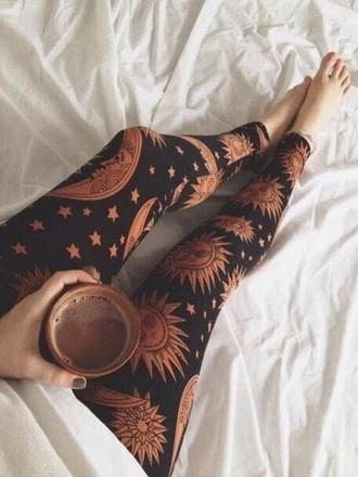 leggings sun & moon black leggings brown legging boho