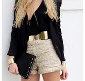 blouse,clothes,belt,shorts,Sequin shorts,shirt,metal gold belt,gold,gold sequins,classy,sequins,pouch,bag,black bag,black blazer,blazer,shoes,gold belt,gold shorts,sparkle,beige shorts,jacket,black jacket,clutch,top,jumpsuit,silver,glitter,blsvk,handbag,blonde hair,gorgeous,thinspo,vest,jewels