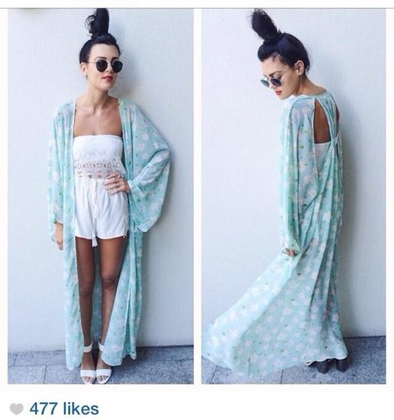 90ec8c816 coat, cardigan, kimono, kimono, romper, white, light blue, floral ...