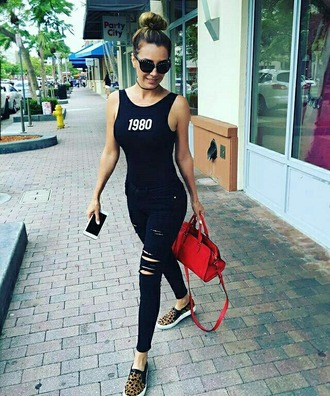 t-shirt black red denim elizabeth gutierrez ripped jeans black jeans black top tank top quote on it sunglasses red bag animal print sneakers
