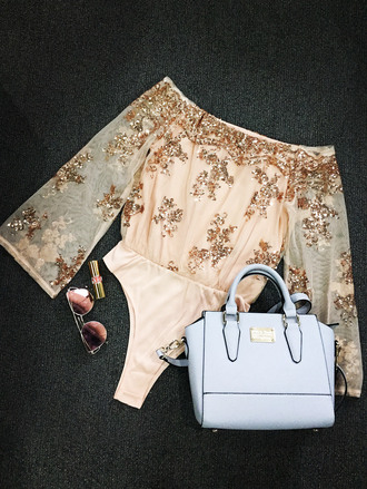 top gold pink sequins