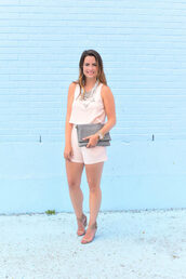 live more beautifully,blogger,romper,jewels,shoes,statement necklace,nude,pink,clutch,necklace,pouch,grey bag,sandals,wedges,wedge sandals