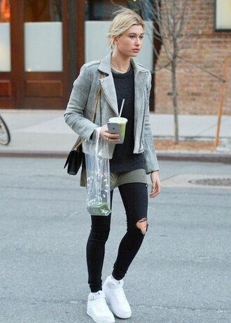 jacket clothes hailey baldwin grey jacket