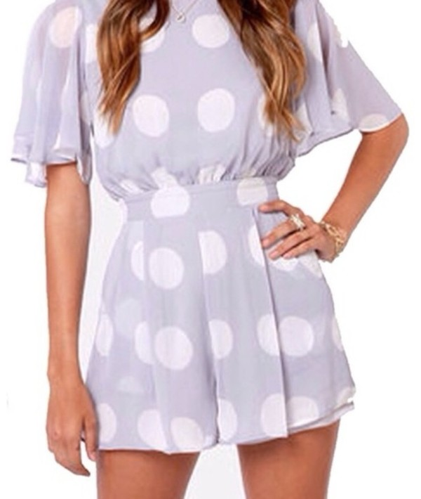 dress purple white polka polka dots short