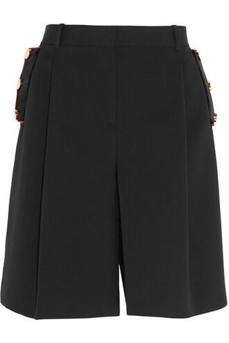 shorts black wool velvet