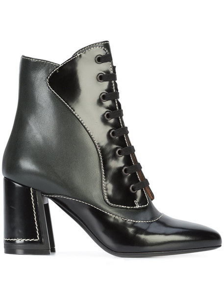 women ankle boots lace leather black shoes