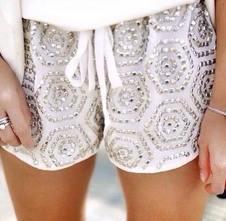 shorts fashion style summer shorts studded shorts white shorts studs