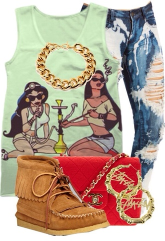jeans shirt tank top jewelry disney moccasins t-shirt