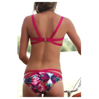 swimwear pink flowers summer blue white bikini bikini top bikini bottoms swimsuit bikini mesh swimwear summer swimwear