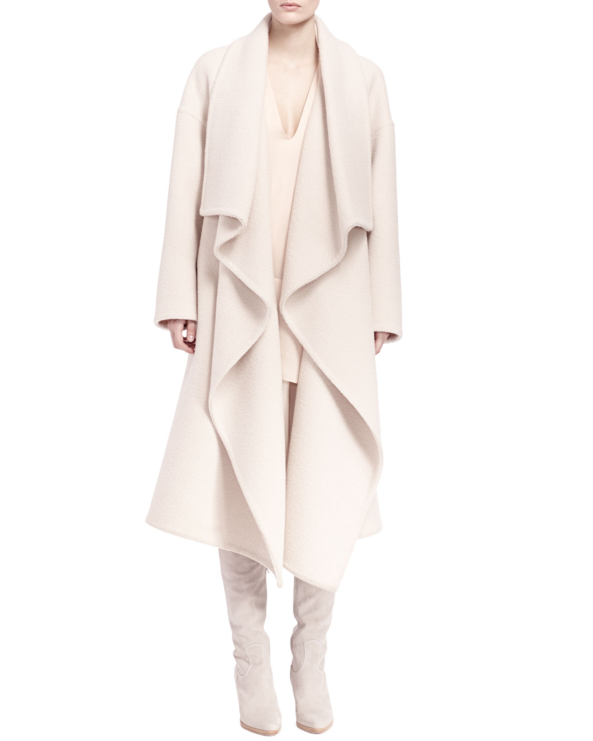 Long Ruffle-Front Drape Coat & Long-Sleeve Tiered Ruffle Dress