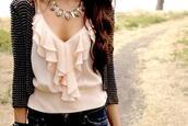 shirt,fashion,top,clothes,pink,chiffon,jacket,blouse,chiffon blouse,ruffle,sweet,lovely,cute,vest,jeans,black,studs,jewels