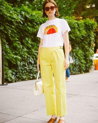 pants yellow yellow pants t-shirt white t-shirt shoes mules sunglasses bag off white bag white bag