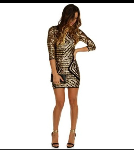 dress sequin geometric gold party dress