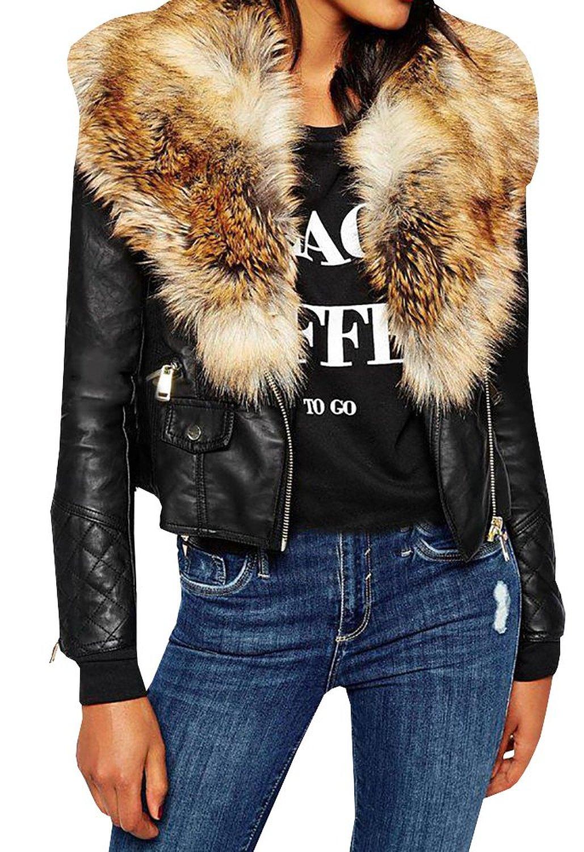 3aaebcc73cf Lovaru Women s Fashion Faux Fur Lapel PU Leather Zipper Plus Size ...