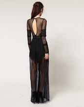 lace,sheer,black dress,maxi dress,dress