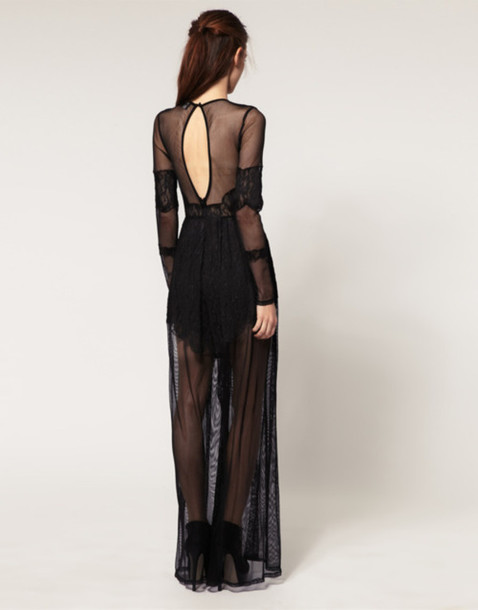 lace sheer little black dress maxi dress