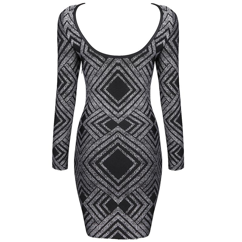 Black Halter Long Sleeve Bandage Dress H479H $139