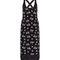 Black floral print split side midi dress